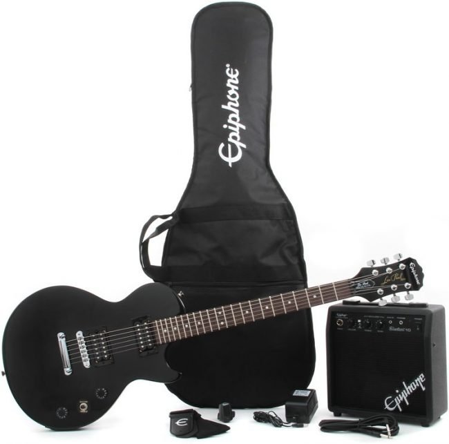 Epiphone Electric Guitar Les Paul Electric Guitar Player Package, Ebony